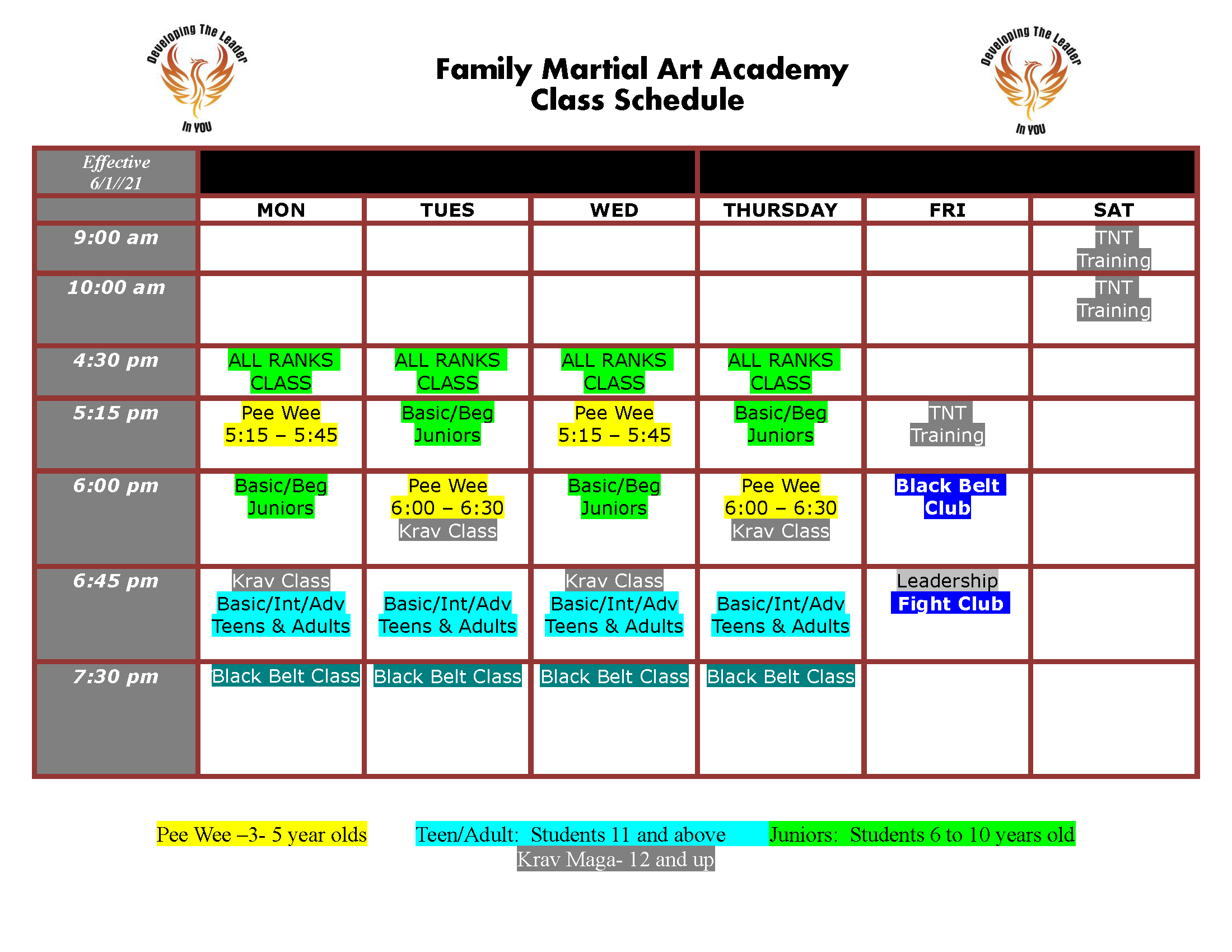 FMAA SCHEDULE V6 Page 1, Family Martial Arts Academy Fayetteville